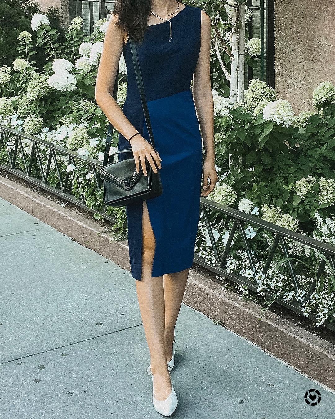 Womens Business Work Wear Navy Sheath Dress