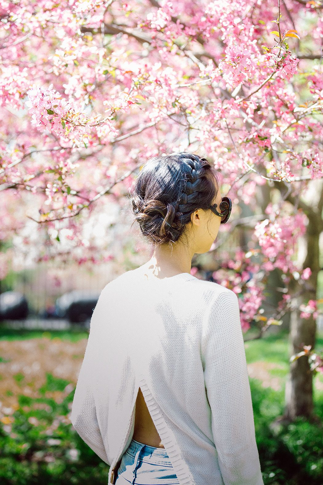 new york city central park bethesda terrace cherry blossom braided updo hair style