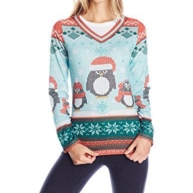 Faux Real Ugly Christmas Sweater Shirt with Penguins