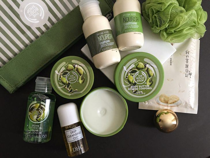 carry on beauty essentials from the body shop and aruba aloe