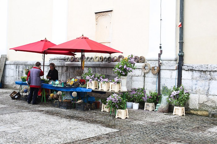 Eastern Europe Travel Tourist City Open Air Market Flower Stand