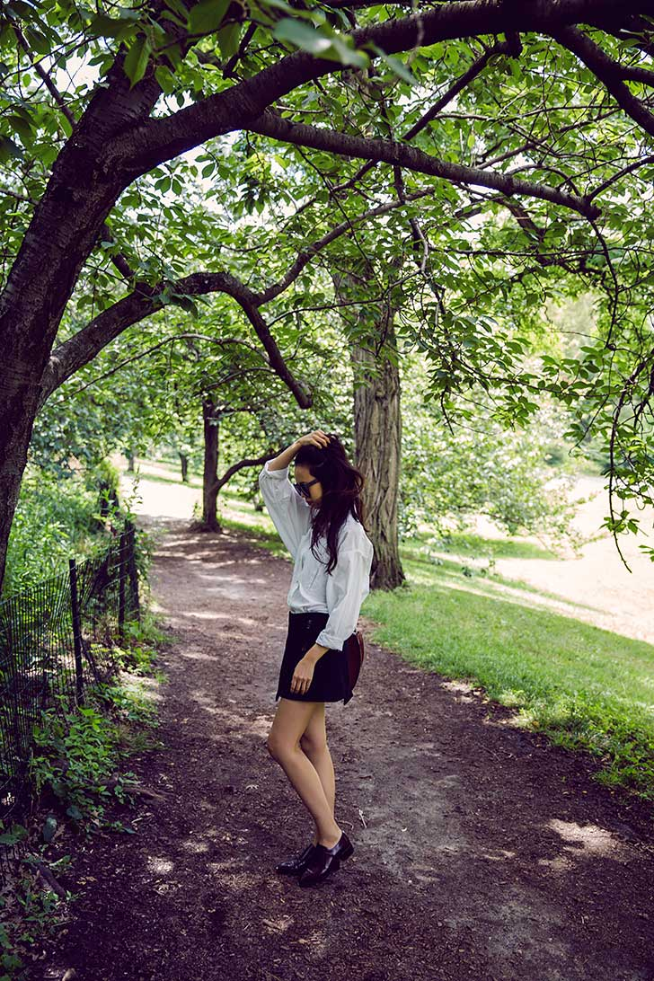 Oversized-White-Button-Down-with-Black-Mini-Skirt
