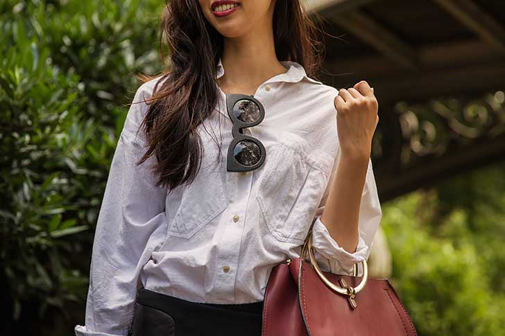 Oversized-White-Button-Down-with-Black-Mini-Skirt