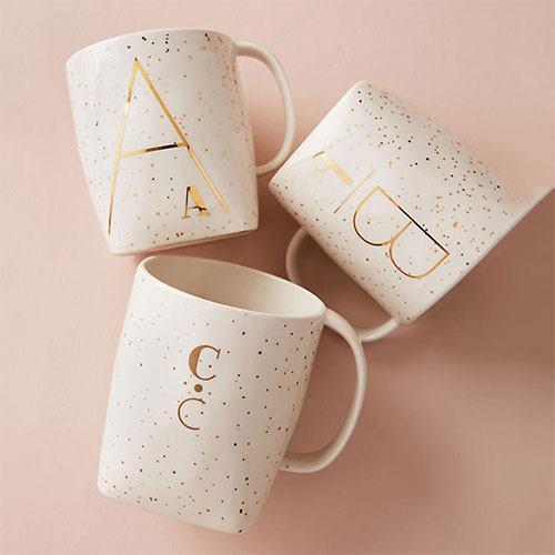 Personalized Home Decor Gift Ideas Gold Ceramic Monogram Coffee Mug