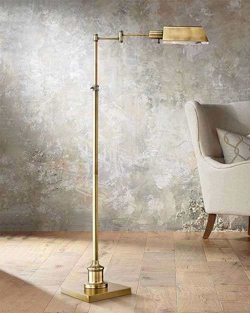 Pharmacy Floor Lamp with Adjustable Arm