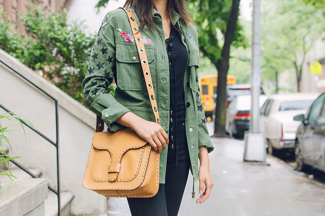 Rainy-Day-Casual-Outfit-Green-Army-Jacket-Lace-Up-Black-Knit-Tee-Rebecca Minkoff Feed bag
