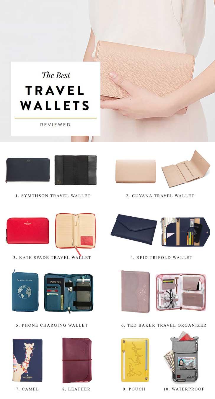 Travel Documents Organizer Black 13 Pockets RFID Travel Passport Wallet PTRAVEL Series Crossbody Wallet Purse with Removable Strap Bifold Zipper Wallet