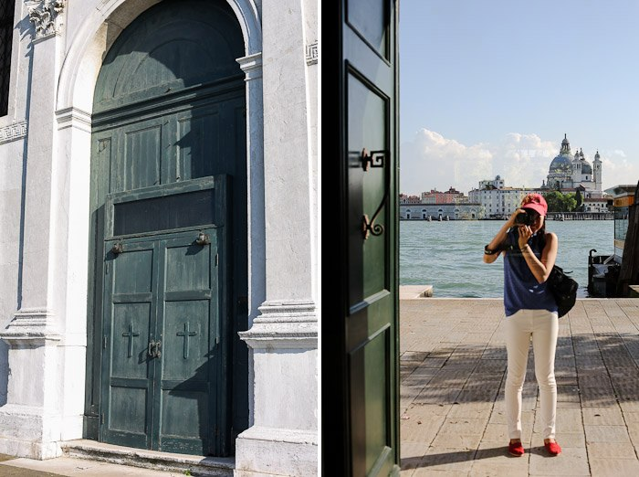 europe travel architecture lagoon coast big door green white washed walls selfie mirror