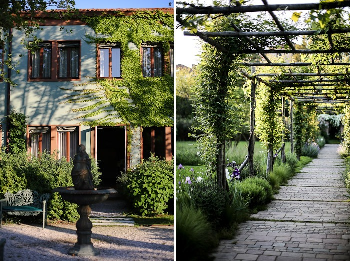 europe travel architecture bauer palladio exterior garden courtyard door ivy bush shrub green canopy fountain