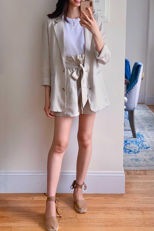 amazon-the-drop-linen-blazer-paperbag-short-set