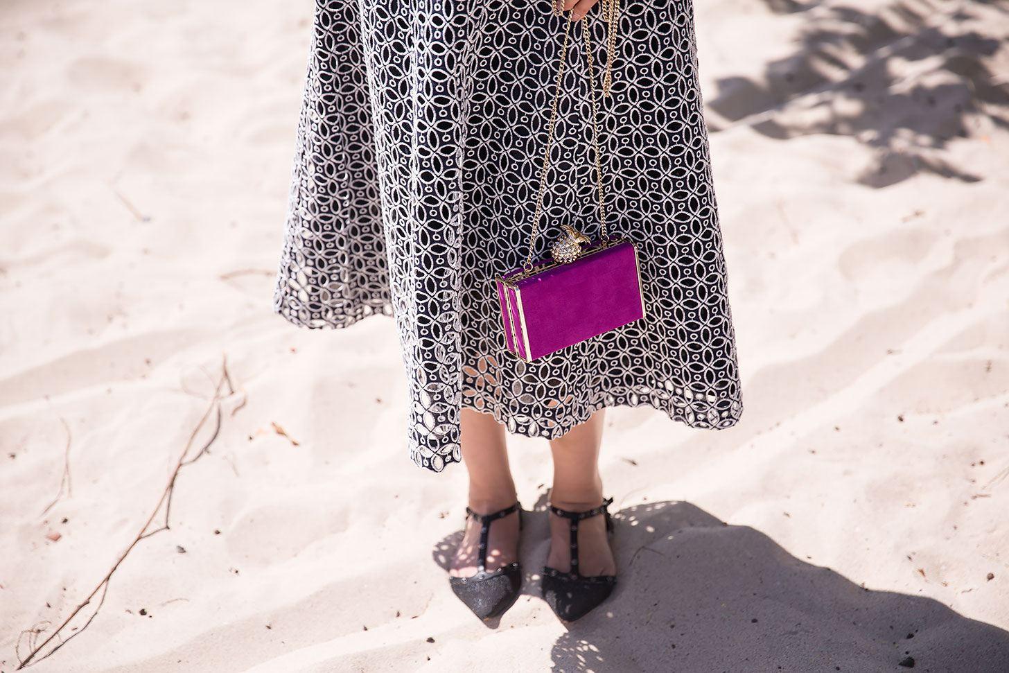 ann taylor midi eyelet dress beach outfit style