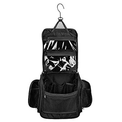 black toiletry bag with hanging hook