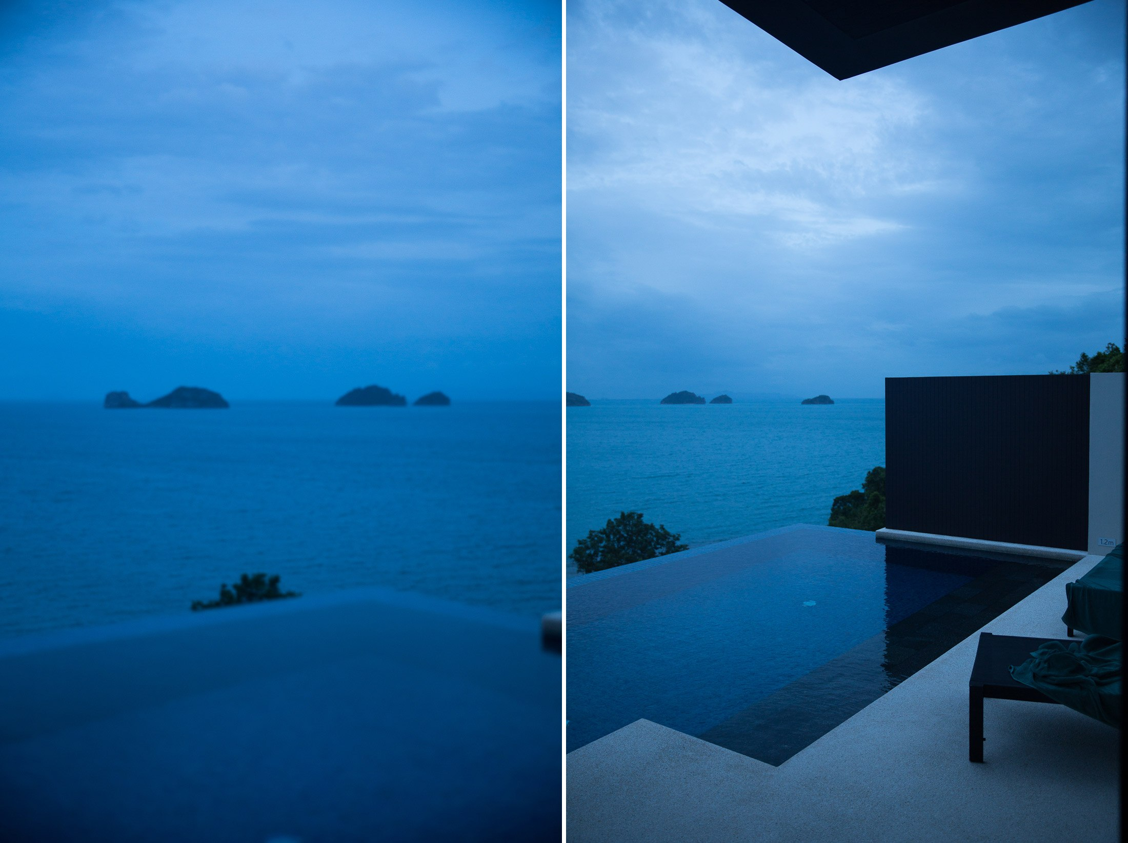 blue hour photography photograph thailand koh samui island conrad hotel infinity pool beach ocean chair islands sunrise shershegoes.com