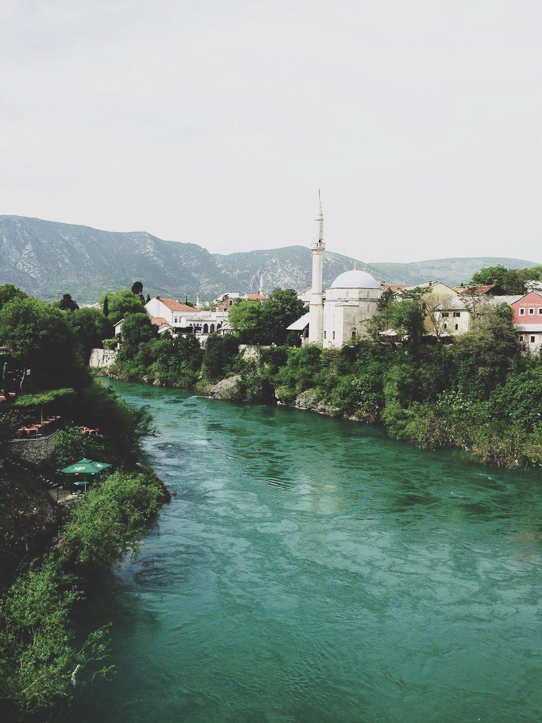 bosnia mostdar stari bridge eastern europe travel blue sea water bridge photo shershegoes.com