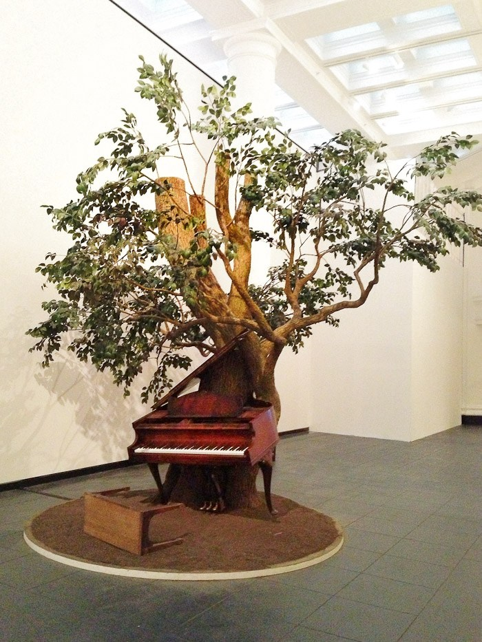 nyc new york museums wall art painting frame European contemporary whomping willow piano stool keys music installation gallery tree music