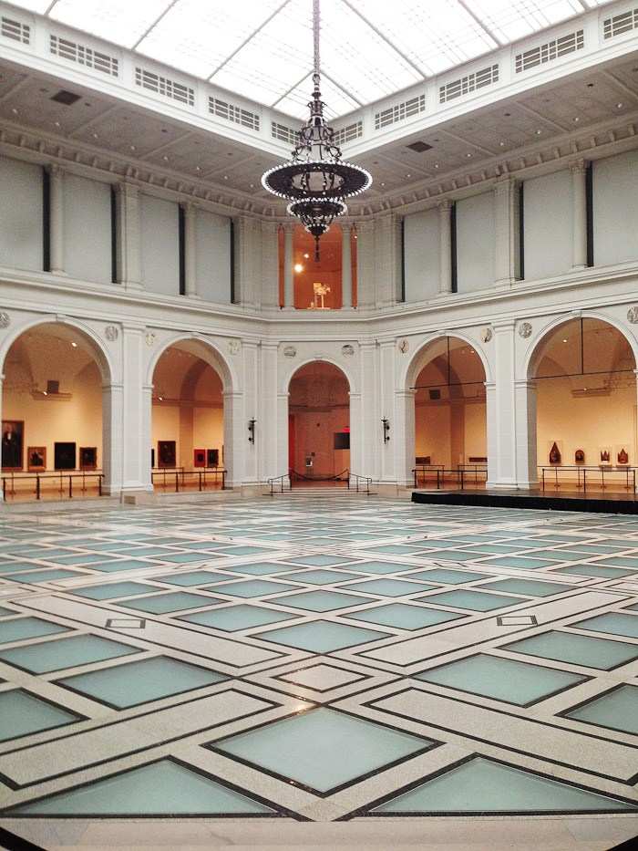 nyc new york museums wall art painting frame European contemporary western arch roman column blue diamond tile chandelier art deco black space gallery exhibition hall