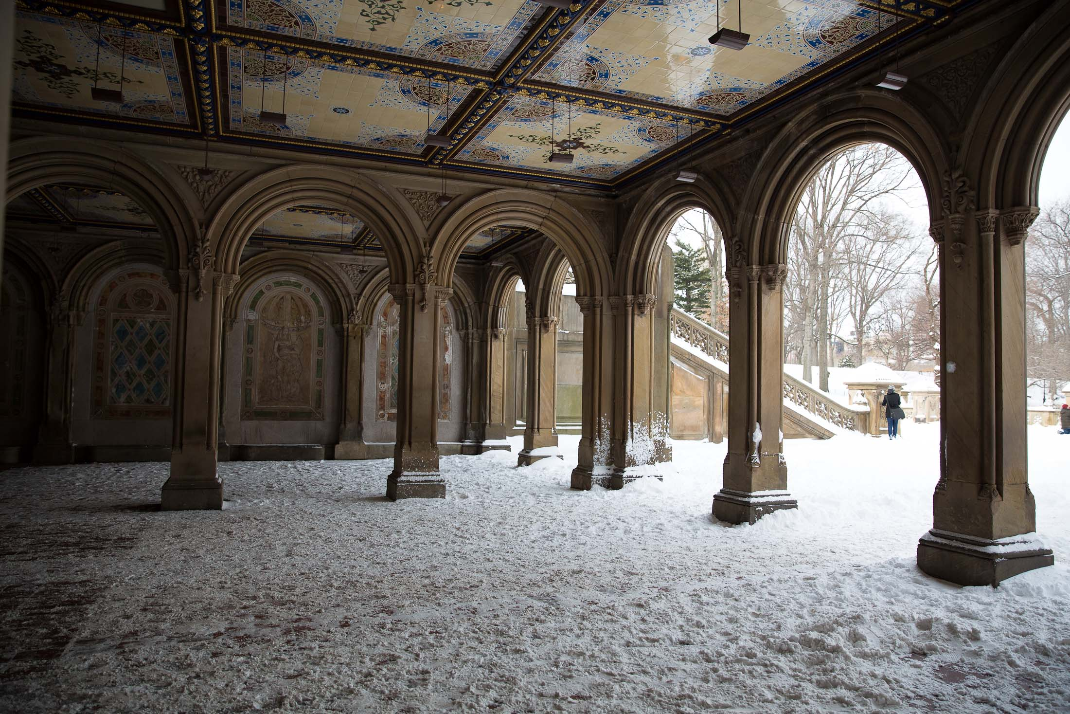 central park snow snowstorm blizzard juno bethesda terrace bridge snowfall winter new york city nyc photo sher she goes shershegoes.com