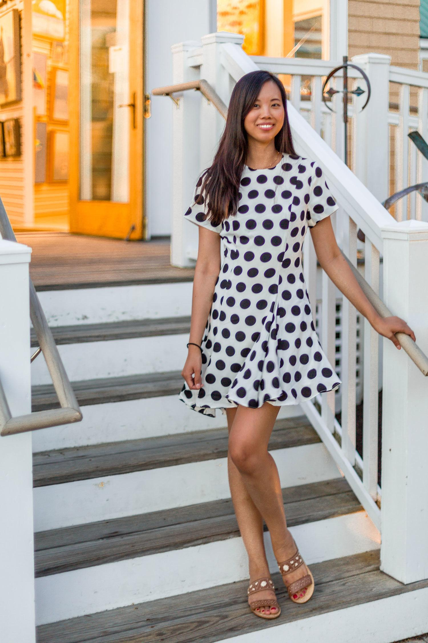 cmeo collective dress with polka dots
