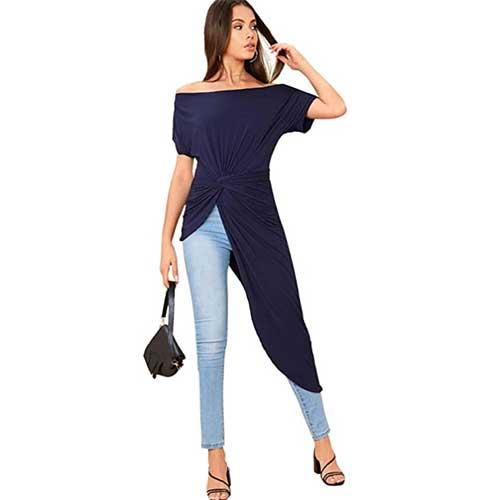elegant off the shoulder long shirt tunic amazon fashion