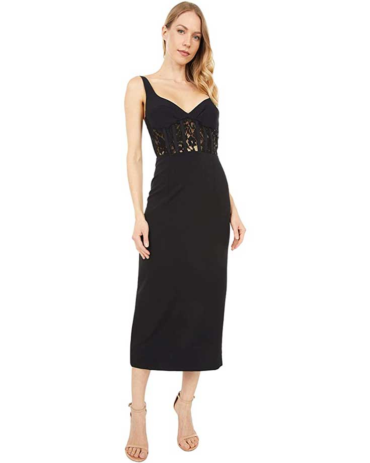 formal-black-lace-midi-dress-for-summer-wedding