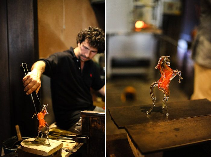 europe italy venice venezia milano glass demonstrate showing glassblower horse vase kiln hot fire chandelier