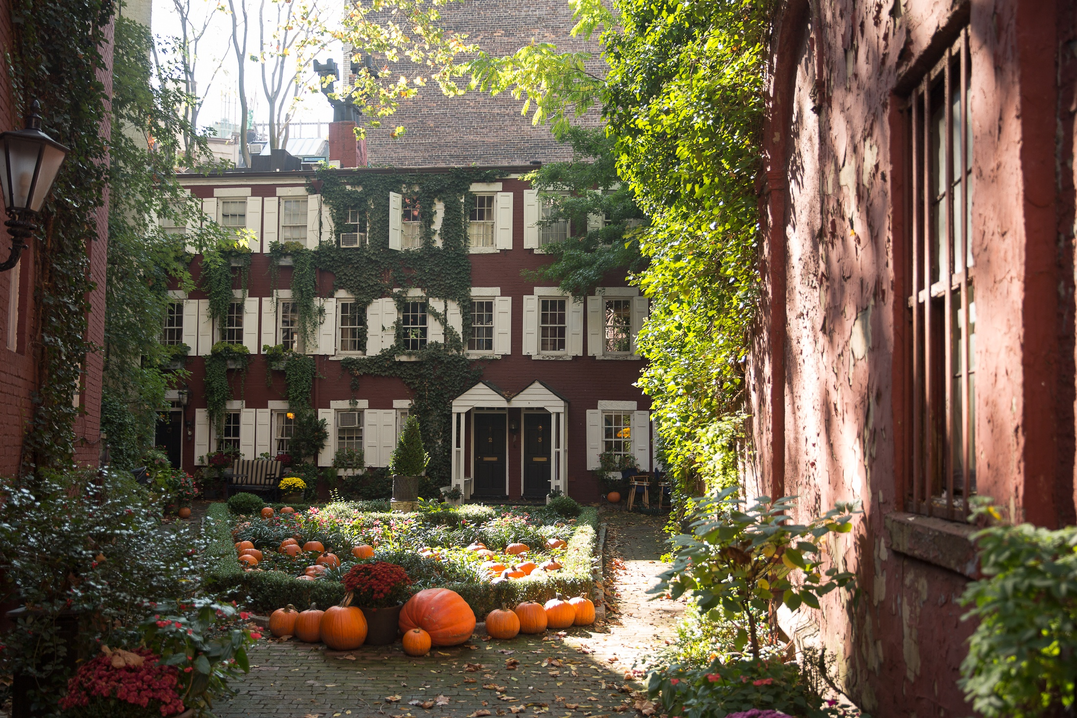 grove court street new york city nyc west village beautiful streets hidden architecture history fall pumpkins halloween shershegoes.com