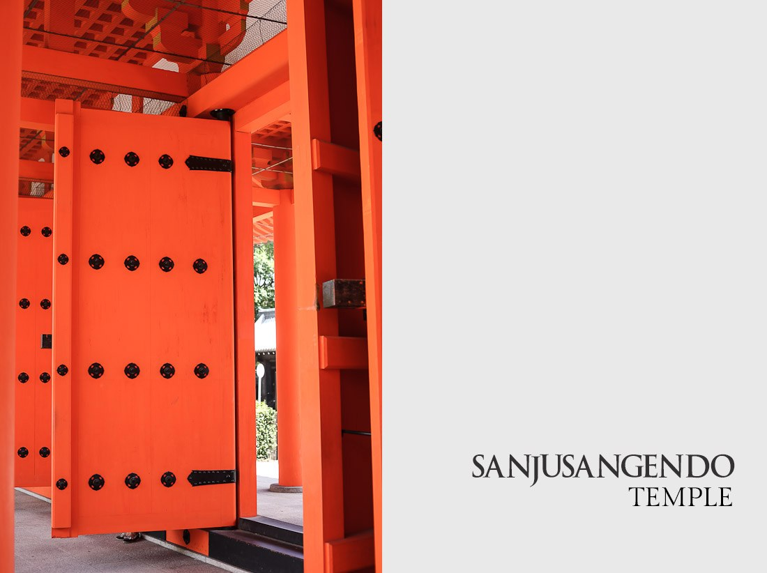 kyoto japan japanese tour tourist travel temple sanjusangendo wooden buddha statues kannon sher she goes orange pray prayer
