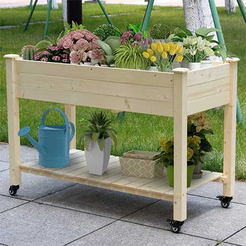 natural-wood-raised-garden-bed-on-wheels