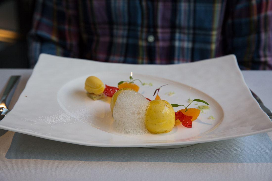 sher dessert white chocolate vanilla sphere mango yuzu gelee mandarin sorbet