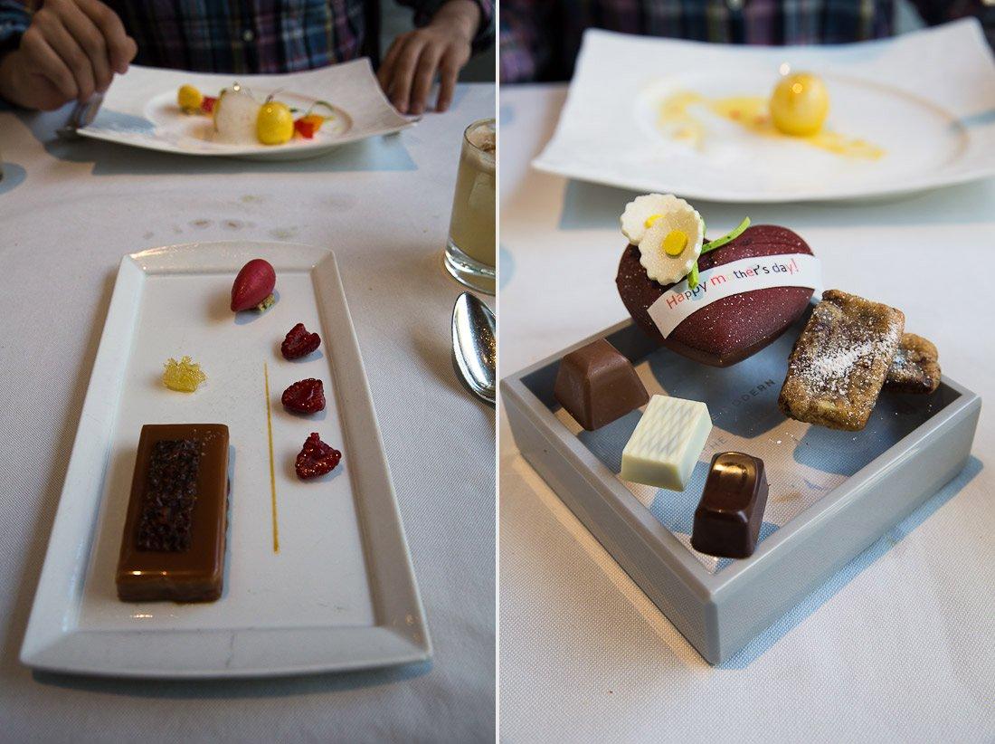 sher dessert chocolate milk chocolate hazelnut daquoise the modern moma dining cake layer raspberry sorbet