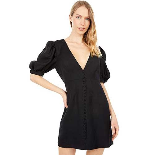 puff-sleeve-black-mini-dress