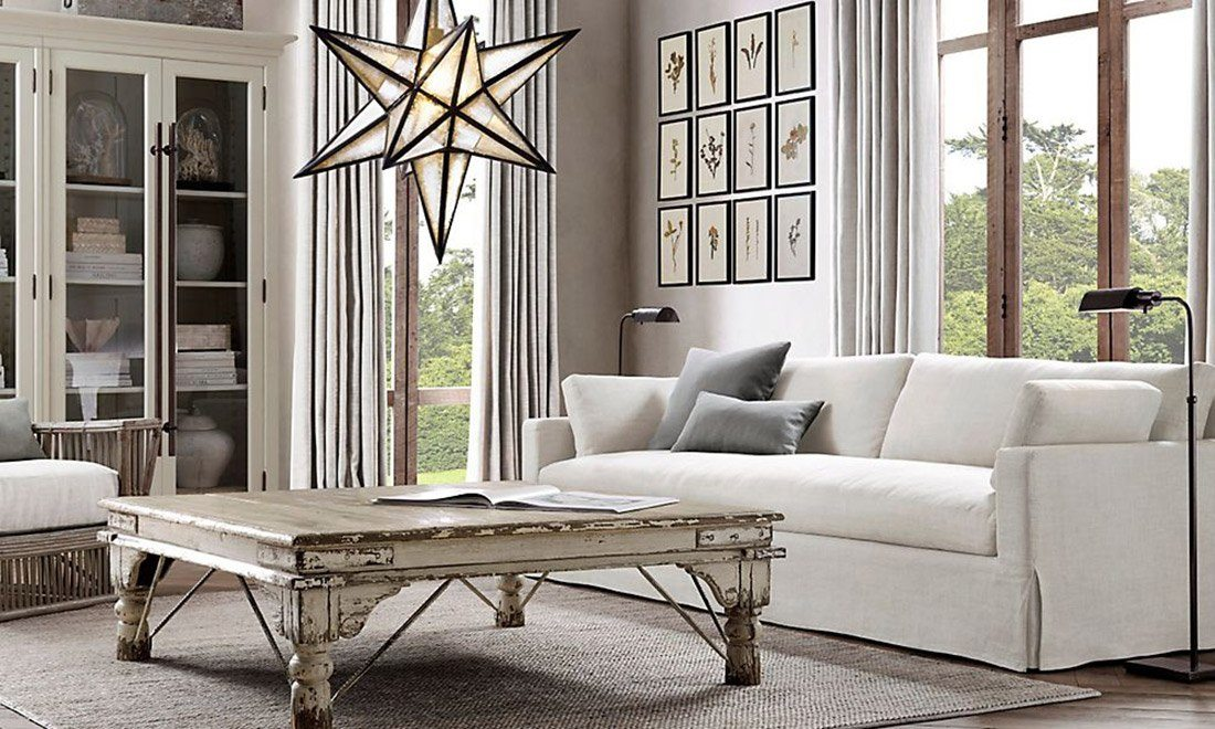 Restoration Hardware RH Living Room White Furniture Interior Design Couch Shershegoes 10