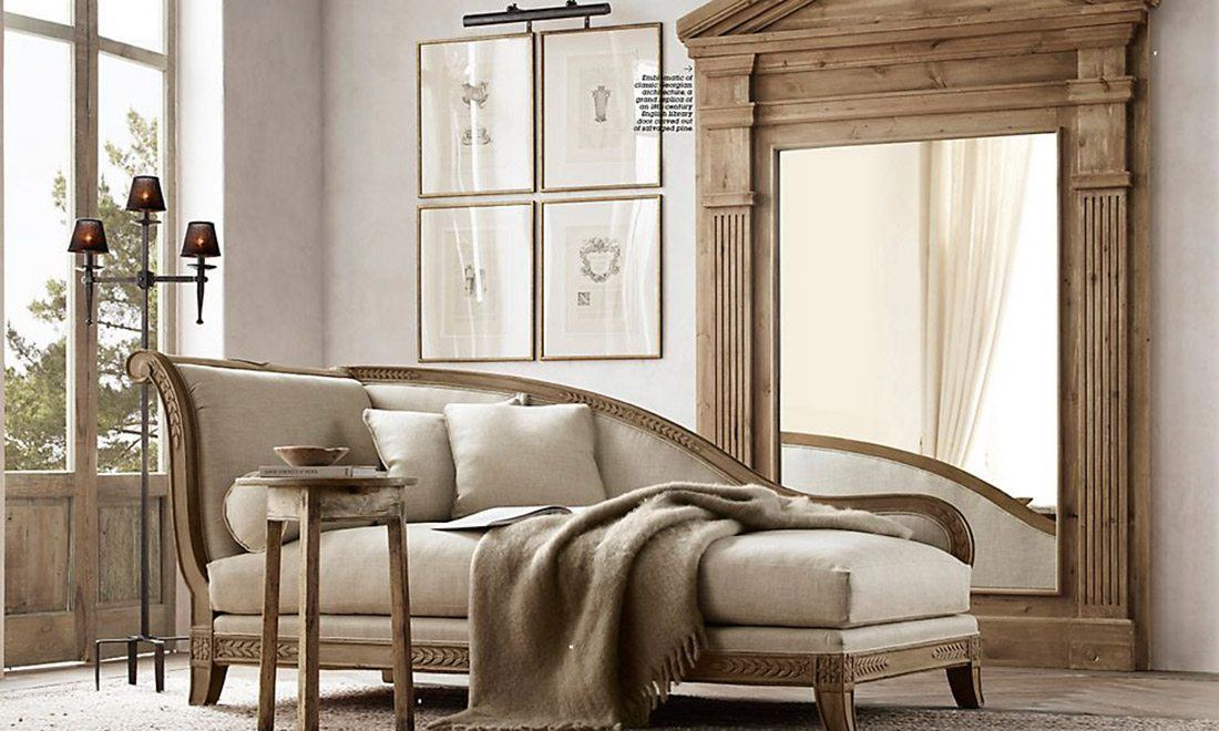 Restoration Hardware RH Lounge Chaise Chair Living Room Mirror Beige Interior Design Shershegoes 3