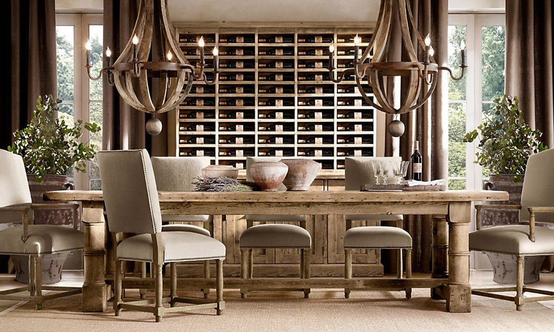 Restoration Hardware RH Wine Room Dining Wooden Table Chair  Interior Design Home House Furniture Shershegoes.com