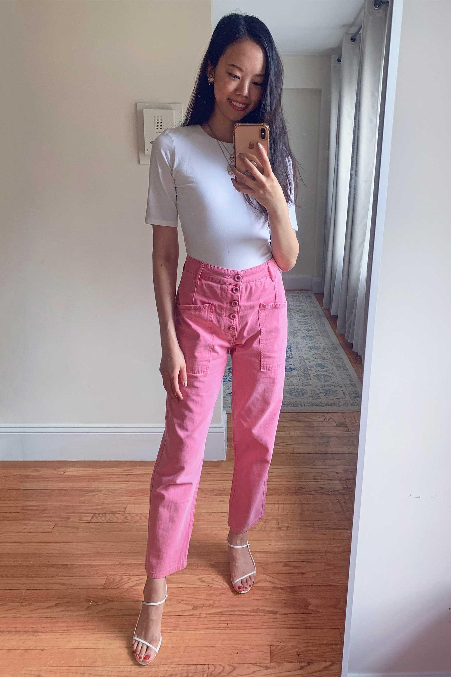revolve haul pink mom jeans