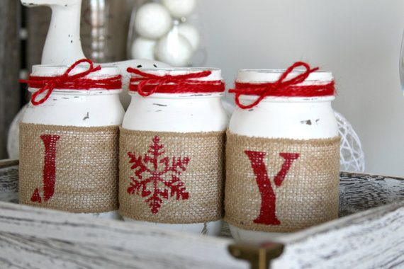 rustic-diy-white-painted-mason-jar-with-ribbon-and-twine