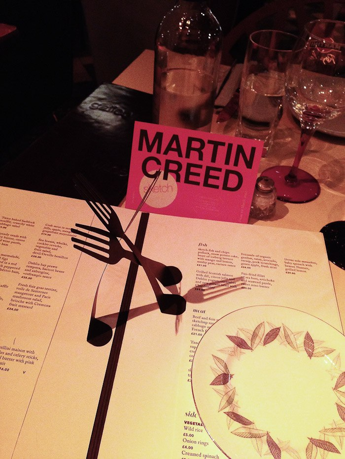 martin creed dining dinner food foodie menu fork spoon pop up