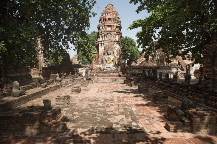 thailand ayutthaya ancient siam ruins buddha wat temple structure stone brick bodhi tree thai summer travel photo sher she goes shershegoes.com