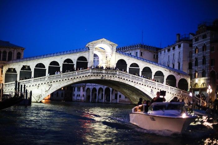 europe italy travel lagoon sea ocean water lights rialto bridge sunset night lights