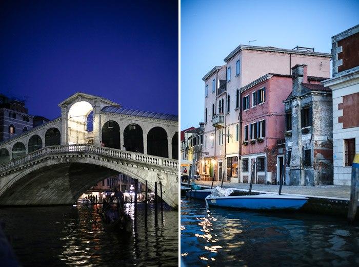 europe italy travel lagoon sea ocean water lights rialto bridge sunset night lights architecture houses venetian venezia pink blue