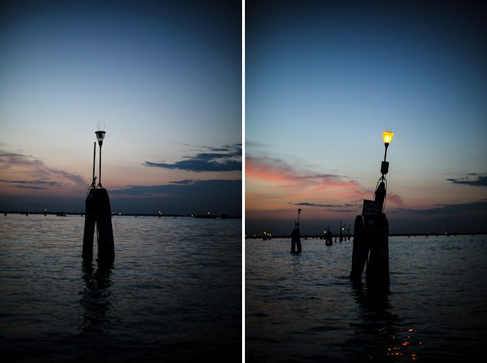 europe italy travel lagoon sea ocean water venetian venezia canal pier light sunset moody
