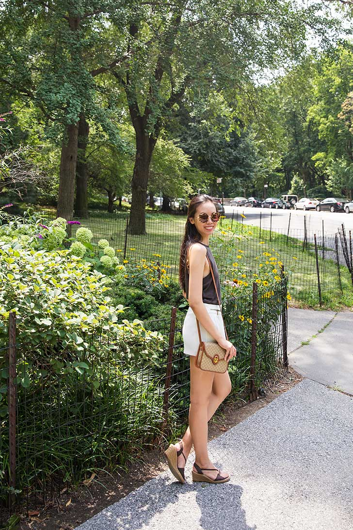 vintage celine bag white shorts open back tank summer outfit
