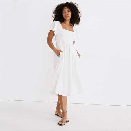 white-puff-sleeve-square-neck-dress